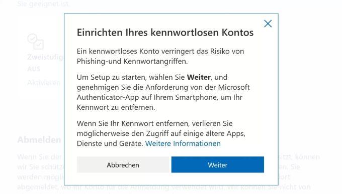 Rimuovi la password dell'account Microsoft