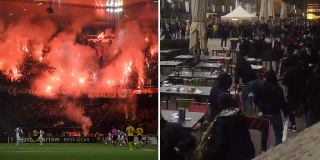 Vor Yb Spiel Feyenoord Fans Gehen Mit Stuhlen Auf Berner Los