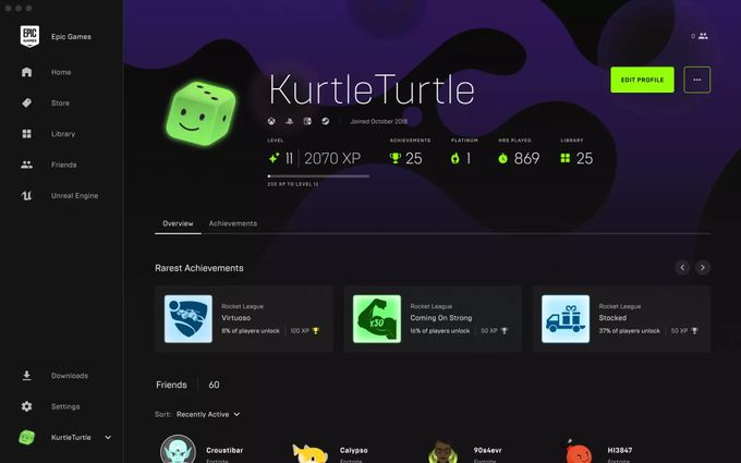 Epic Games Store Profil