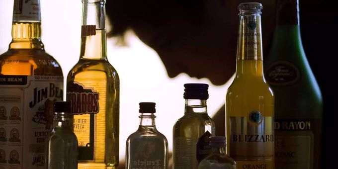 Various bottles of alcohol.